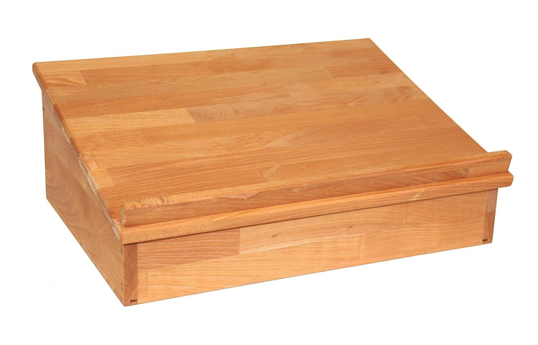 Großes Großes Großes Tischpult zum Aufklappen mit Ablagefach, Lesepult Tischaufsatz aus Massivholz Buche, geölt, echtes Holz 23478b