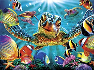 Turtle Diamond Painting-DIY 5D Diamond Painting Kits for Adults and Beginner,Crystal Rhinestone Full Drill Embroidery Diamond Arts Craft Home Decor Animal Diamond Painting Sea Turtle(8x12in)