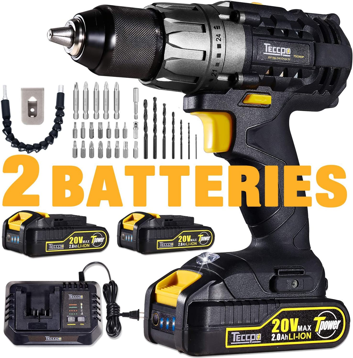 Cordless Drill, 20V Drill Driver 2x2000mAh Batteries, 30Min Fast Charger 4.0A, 530 In-lbs Torque, 24 1 Torque Setting, 2-Variable Speed, 29pcs Accessories, 1 2 Metal Keyless Chuck