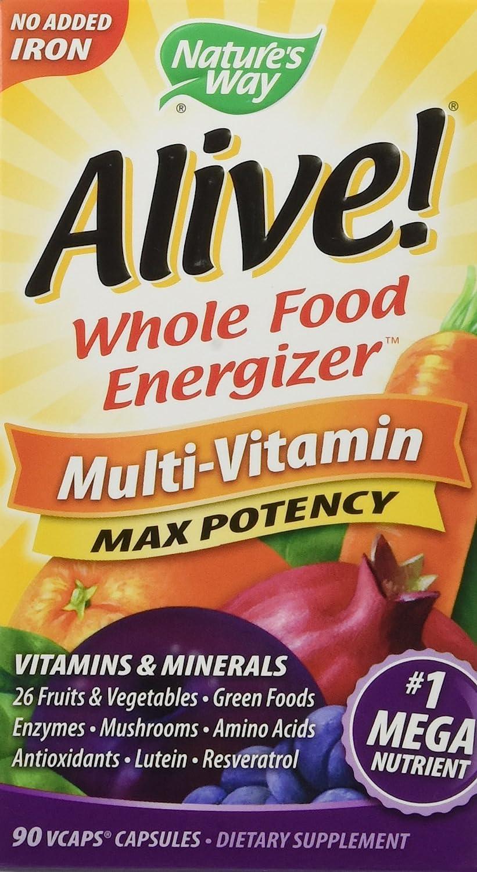 Alive! No Iron Added Whole Food Energizer 90 VegiCaps