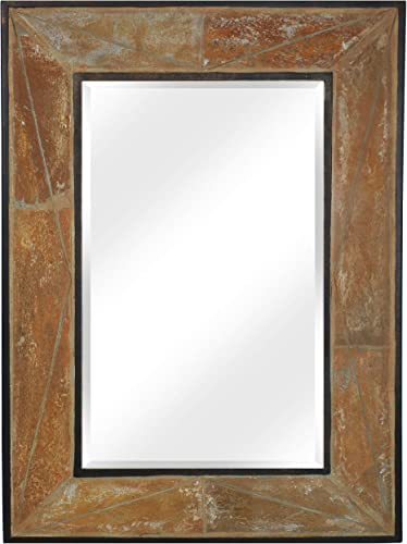 CASL Brands Large Rectangular Wall Mirror, Decorative Slate Frame, 27 x 38 Inches