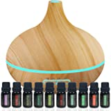 Pure Daily Care Ultimate Aromatherapy Gift Set - Ultrasonic Diffuser & Top 10 Essential Oils - 320ml Diffuser with 4 Timer & 7 Ambient Light Settings - Therapeutic Grade Essential Oils - Lavender