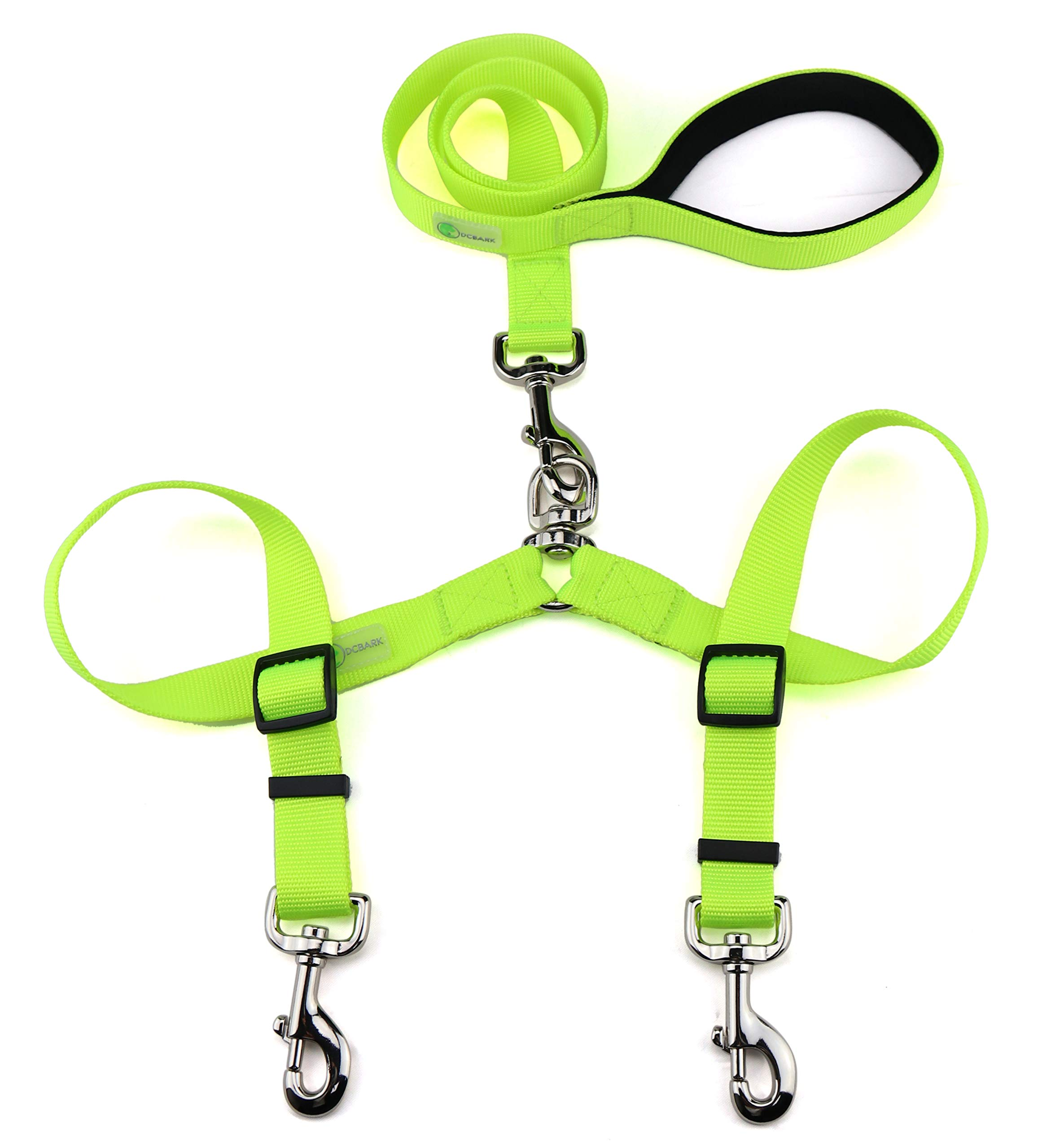DCbark Tangle Free Double Dog Leash, No Tangle Adjustable Length Lead with Comfortable Padded Handle for 2 Dogs (L, Neo Green)