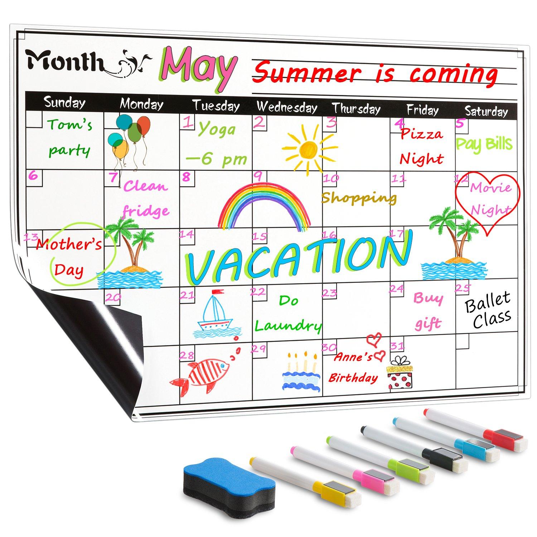 DOEWORKS 17x11 Magnetic Dry Erase Refrigerator Monthly Calendar Set, Fridge Magnetic Calendar Chalkboard with 6 Markers & Eraser