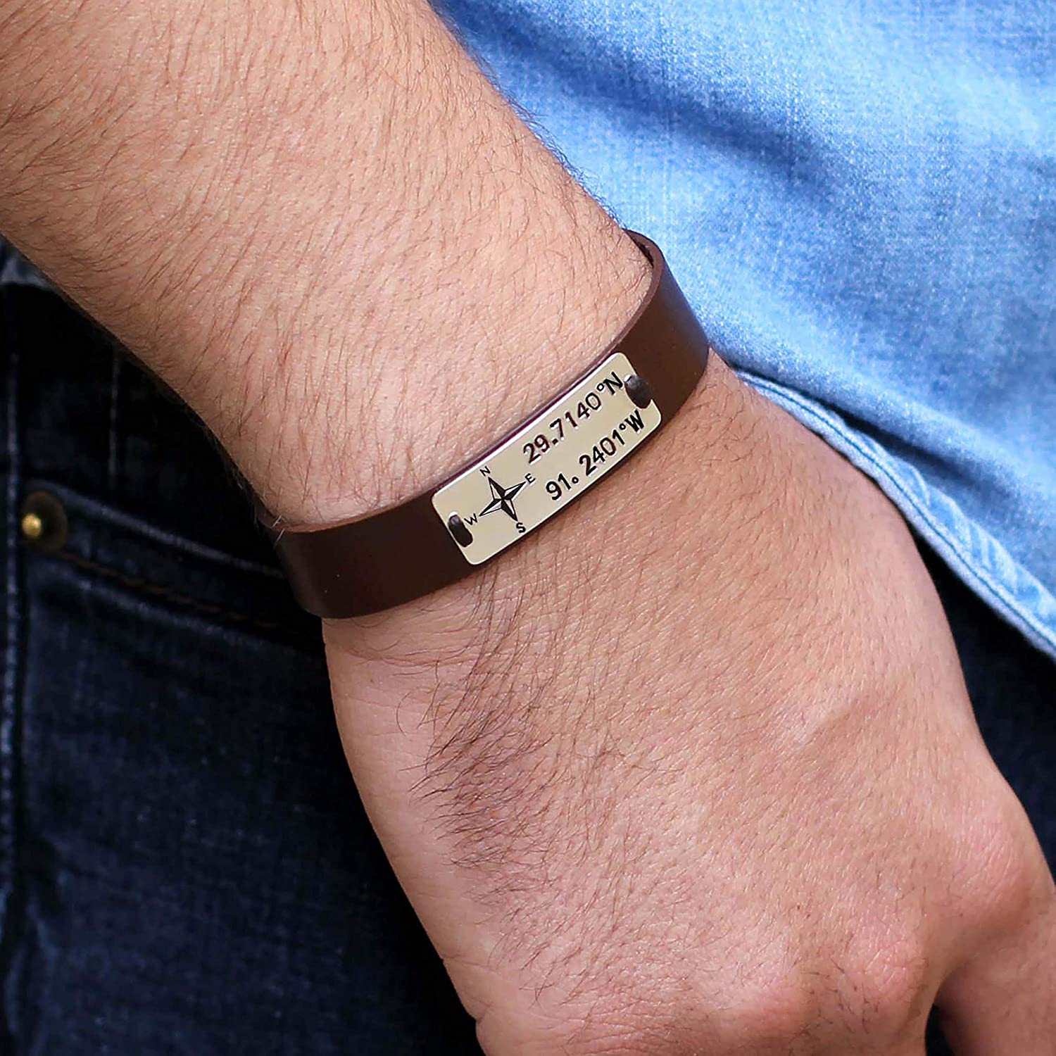 Mens Personalised Bracelet Gent/'s Black Wrist Bangle Father/'s Day Gift