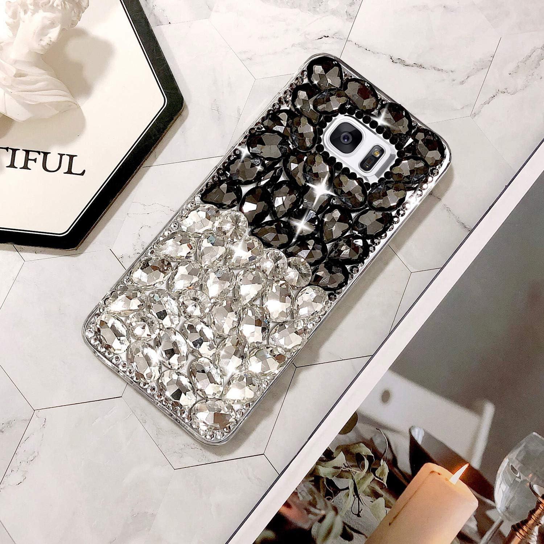 Vert Luxe Diamant Coque pour Galaxy S6 Edge Plus Misstars Transparente Bling Glitter Housse de Protection Souple TPU et Hard PC Arri/ère Antichoc Anti-Rayures pour Samsung Galaxy S6 Edge Plus