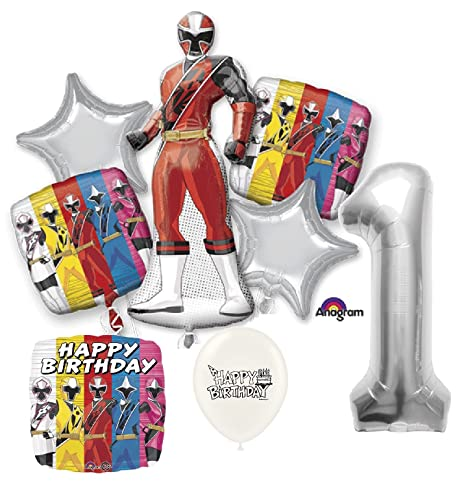 Amazon.com: Silver Number 1st Birthday Power Rangers Ninja ...