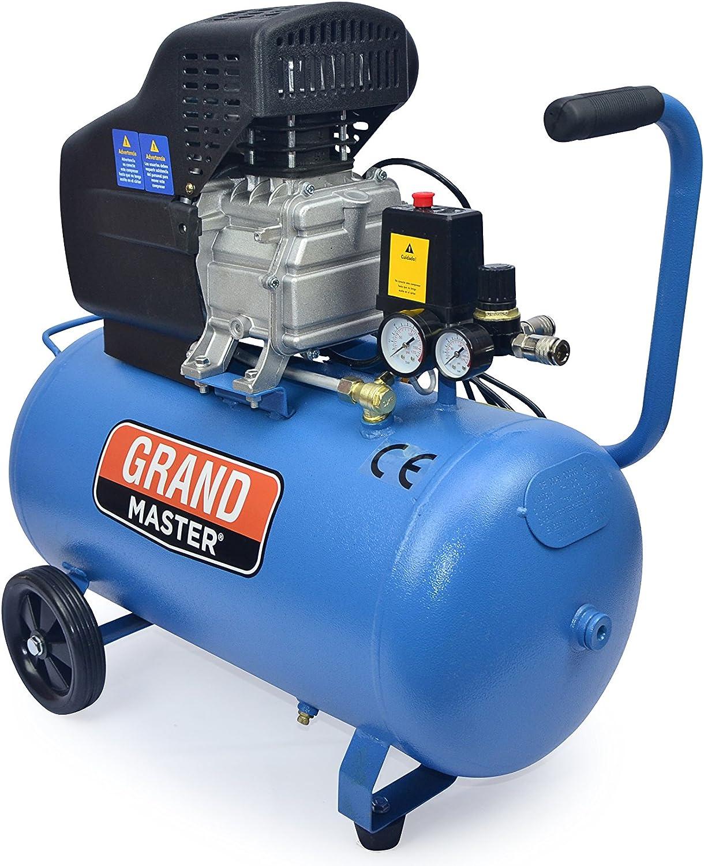 Grandmaster - Compresor De Aire De 50 Litros 220V, 206L/Min, 1500W, 8 Bares/116psi, Filtro De Aire, Velocidad 2850/Min, Compresor Silencioso 92 Db, Válvula De Seguridad