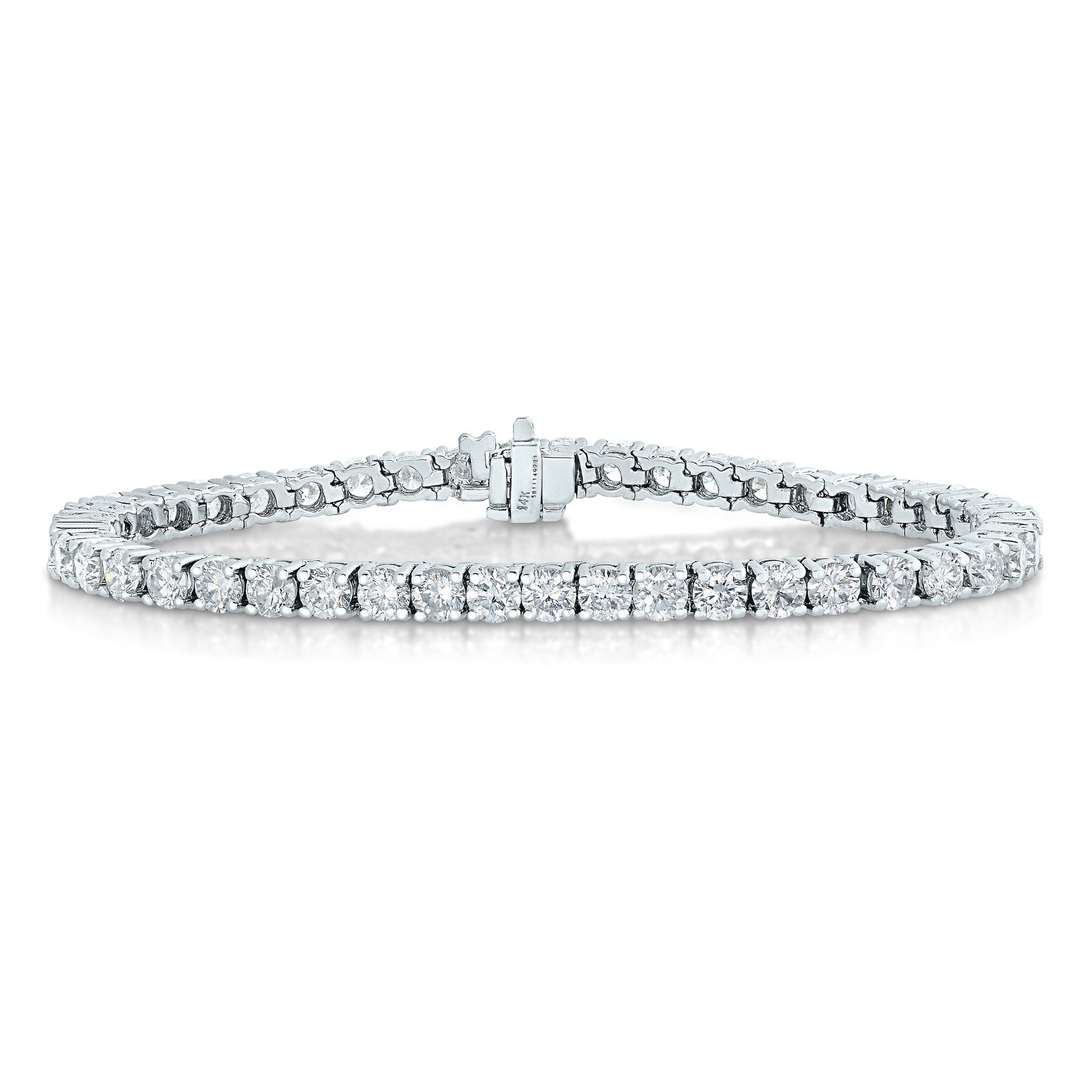 2 CT AGS Certified I1-I2 Clarity Diamond Bracelet 14K White Gold
