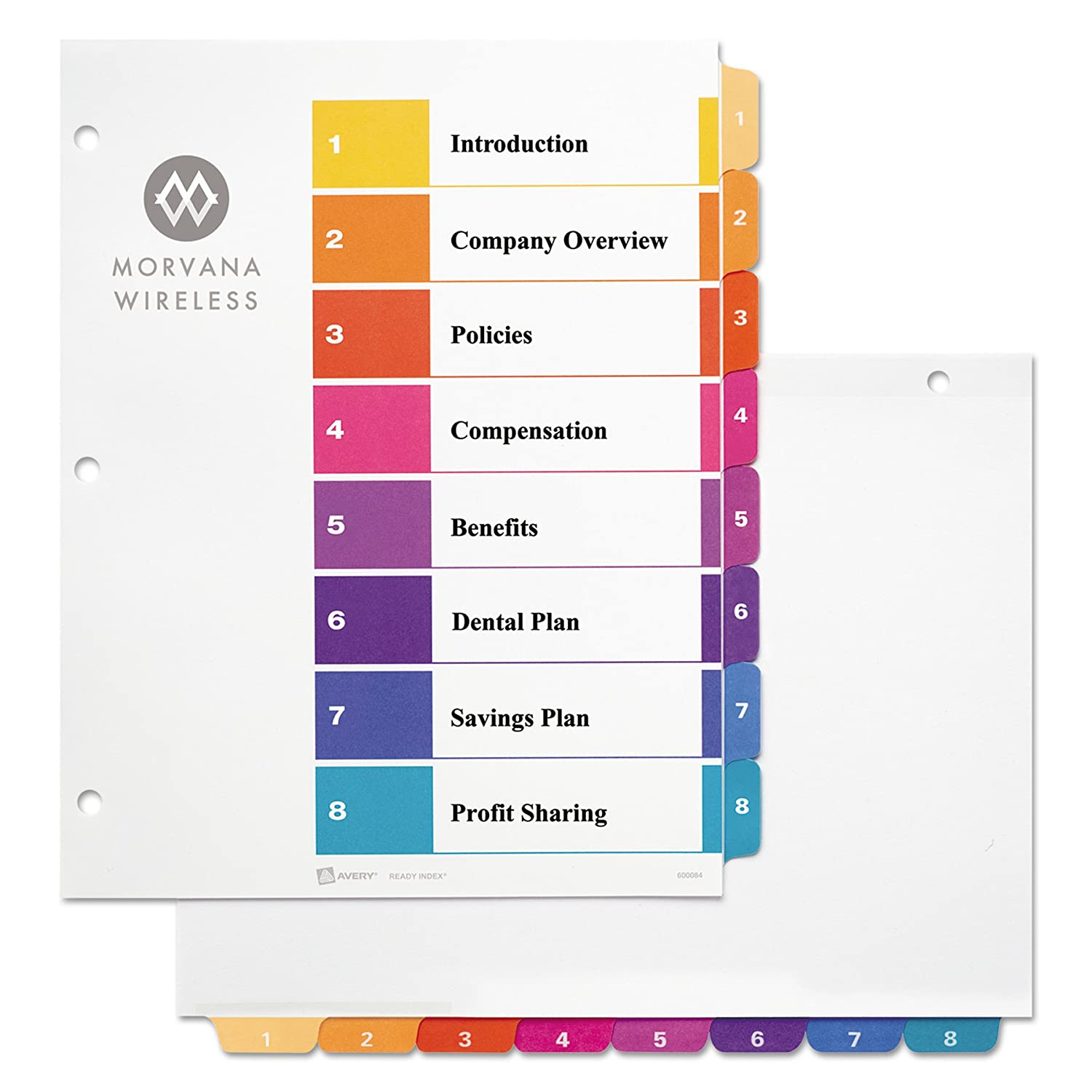 Avery Ready Index Table Of Contents Dividers 15 Tab Set 3 Sets