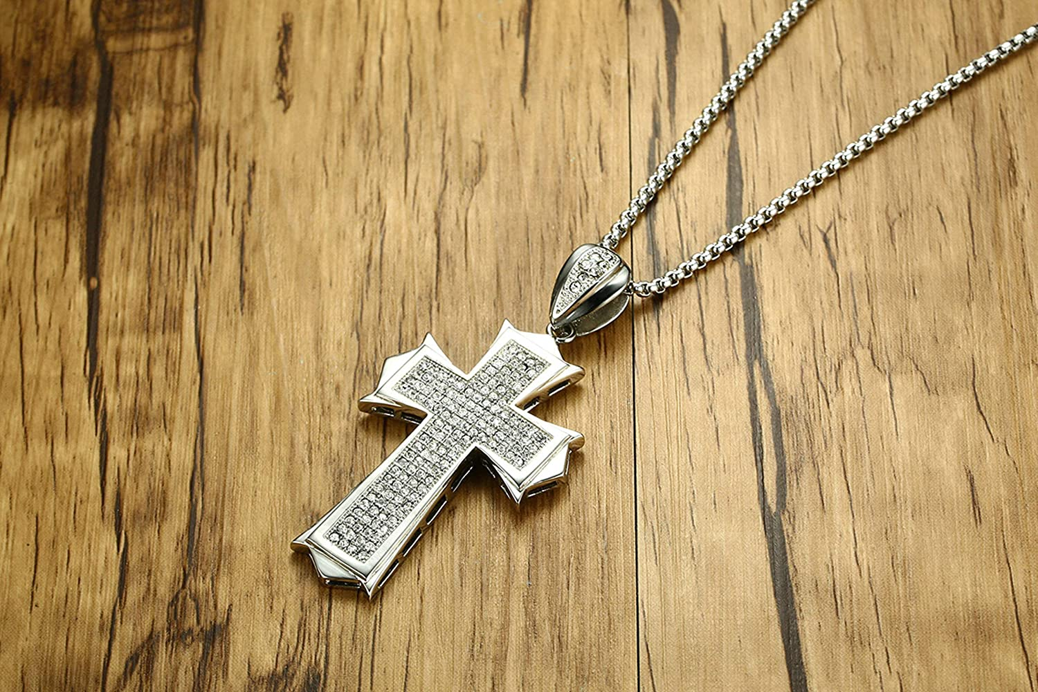 Aooaz Jewelry Stainless Steel Wide Cross with Cubic Zirconia Necklace Pendant Necklace Silver