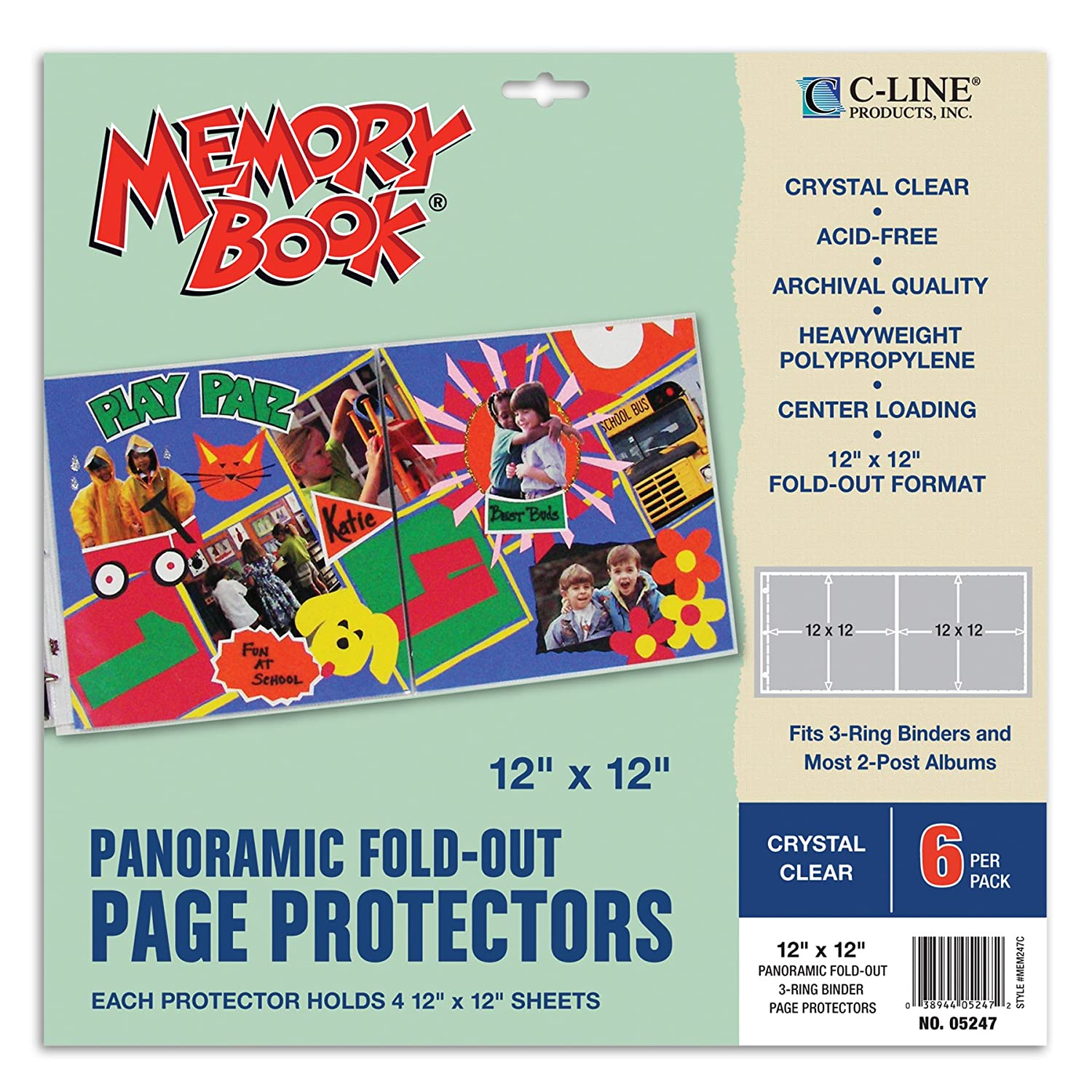 How to scrapbook without page protectors - Amazon Com C Line Memory Book Panoramic Fold Out Scrapbook Page Protectors Center Loading Clear 12 X 12 Inches 6 Pages Per Pack 05247 Arts