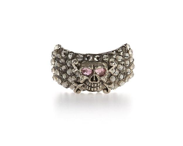 Amazon.com  Funky Bling! Pink   Dark Grey Skull Ponytail Holder with ... ed00efa3cf5