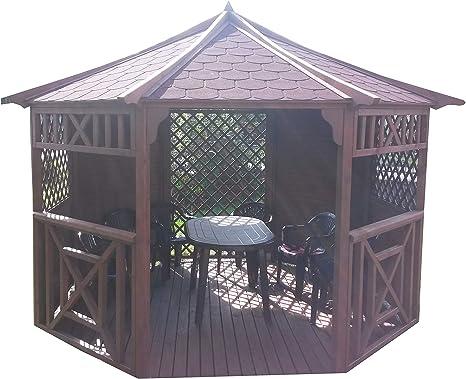 Stan-Wood Pérgola de jardín de madera con techo de madera de 3,5 x 3,5 m