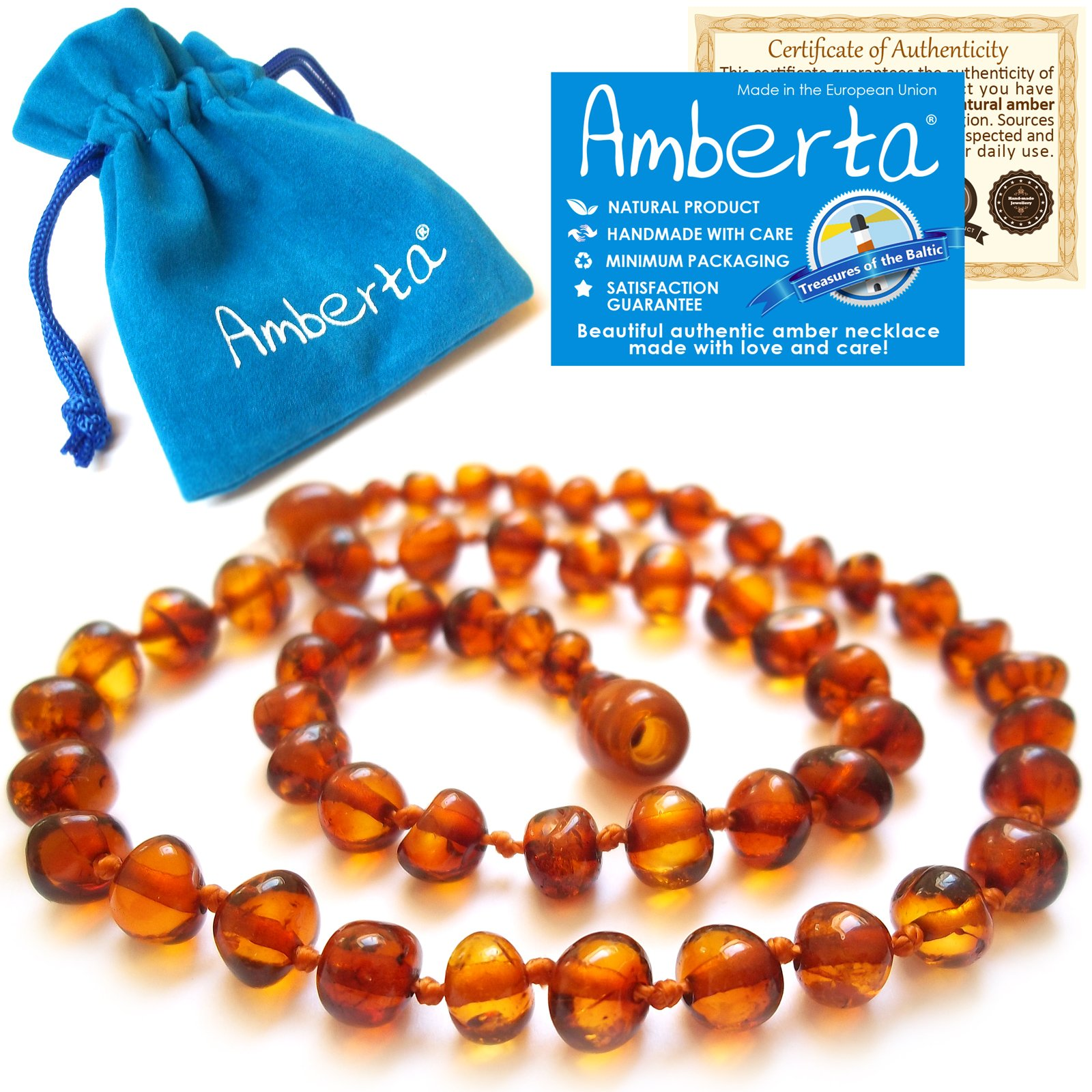 Amber Teething Necklace for Babies Amberta - Anti Inflammatory, Teething Discomfort & Drooling Relief, Natural Soothing Effect - 100% Pure Amber, Twist-in Screw Clasp, Handmade