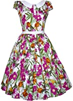 1940's 1950's Vintage Style Pink Floral White Collar Detail Party Prom Tea Dress