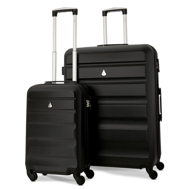 Aerolite ABS Hartschale 4 Rollen Leichtgewicht Handgepäck Kabinenkoffer mit eingebautem TSA Schloss, Genehmigt für Ryanair, British Airways & Viele Mehr, 2 Teiliges Set, Schwarz Genehmigt für Ryanair