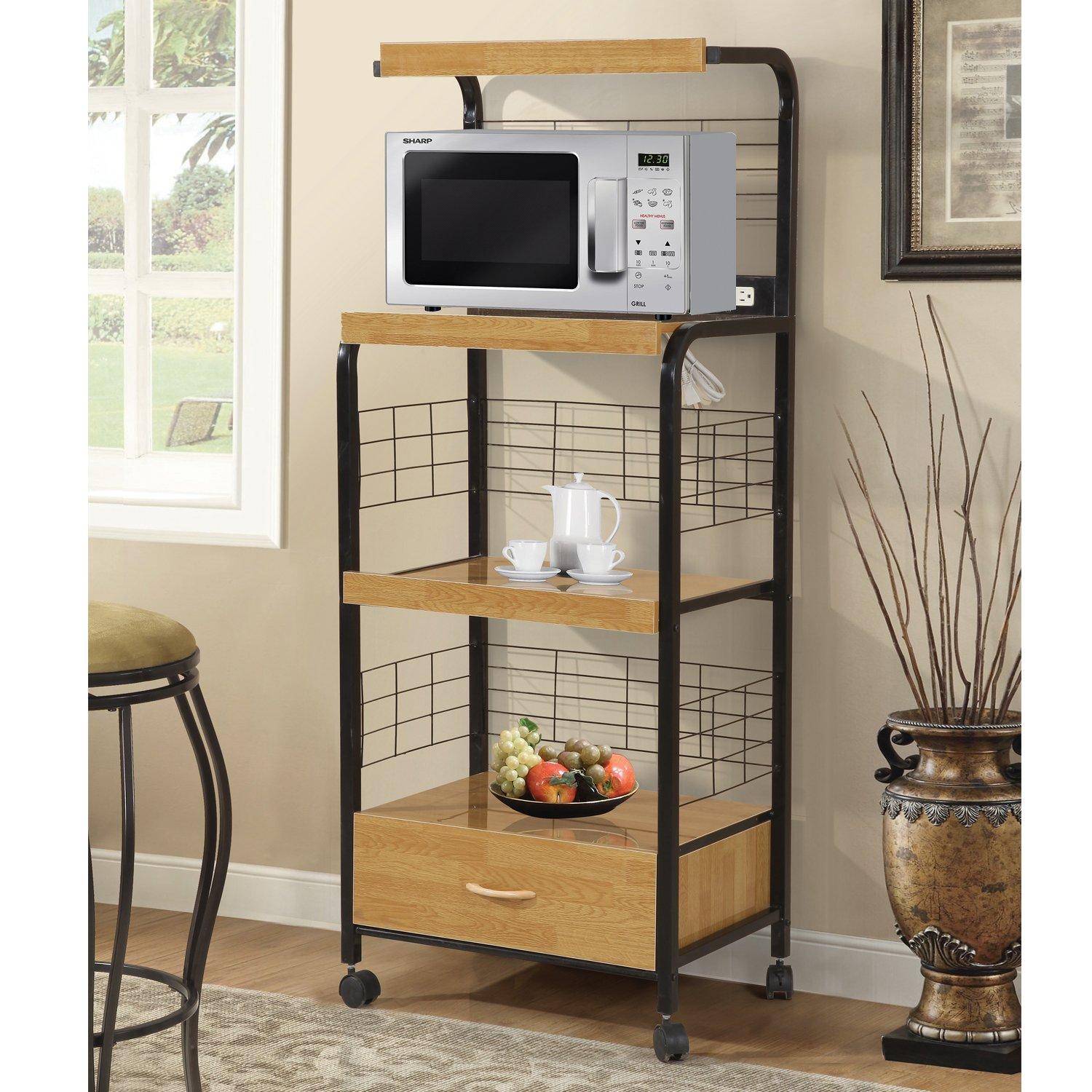 Home Source Industries 4403 Metal Microwave Cart with 2 Electrical Outlets, Black with Light Wood Trim