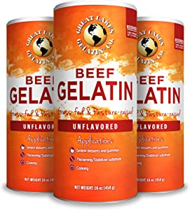 Great Lakes, Beef Gelatin, 16 Oz 3-Pack, Kosher, Paleo-Friendly, Keto Certified, Gluten Free, Non-GMO
