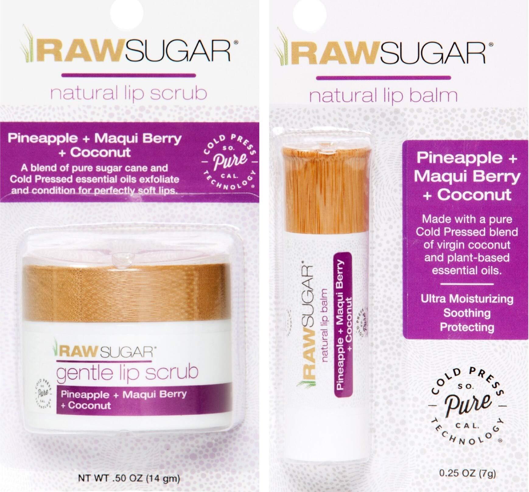 Raw Sugar Pineapple + Maqui Berry + Coconut Lip Set - .50 oz Natural Lip Scrub and .25 oz Natural Lip Balm by Sugar in the Raw
