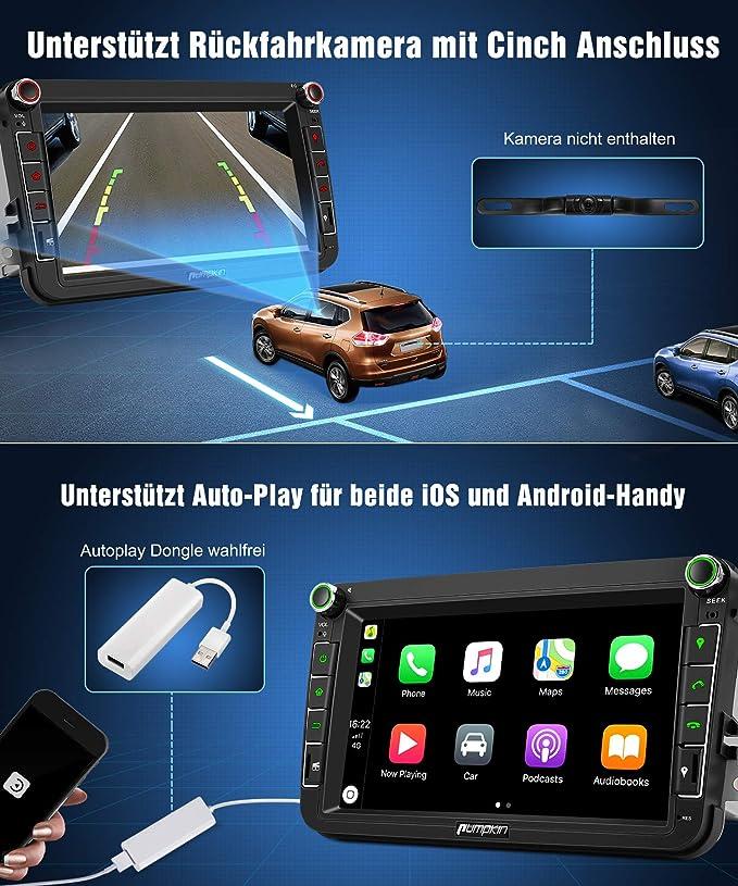 Pumpkin Android 8.0 Auto Radio Radio para Volkswagen Golf Polo Passat con Navi Soporta Bluetooth Dab + WiFi 4 G USB Android Auto MicroSD AUX 2 DIN 8 ...