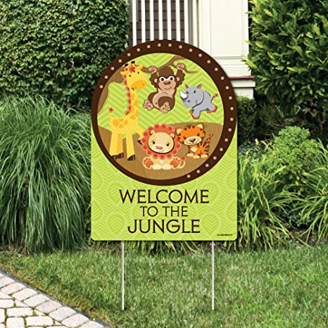 b0922ce57c4a1 Amazon.com  Big Dot of Happiness Funfari - Fun Safari Jungle - Party  Decorations - Birthday Party or Baby Shower Welcome Yard Sign  Toys   Games