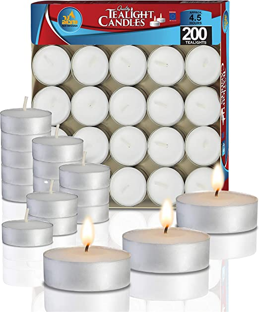 White Unscented Tea Lights Candles 3.5 and 5 Hours Burning T-Lights Restaurant