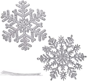 Pack of 32pcs Plastic Glitter Snowflake Ornaments Christmas Hanging Decorations Holiday Party Decor, 4 inch Silver
