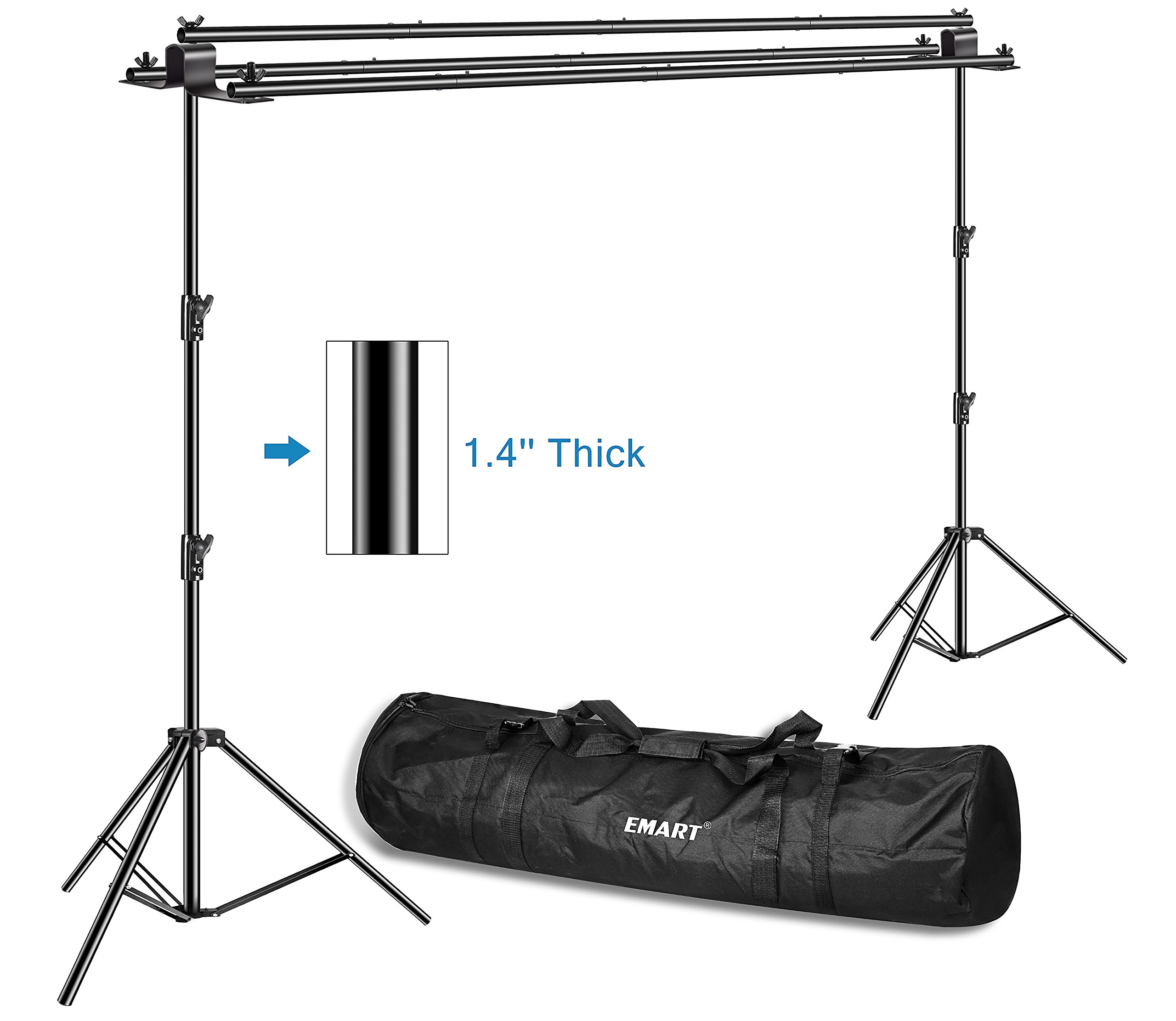 Emart Triple Crossbar 10 ft Wide 8.5 ft Height Backdrop Stand, Photo Video Studio Heavy Duty Adjustable Photography Muslin Background Support System Kit - 3 in 1 Multi Backdrop Stand by EMART