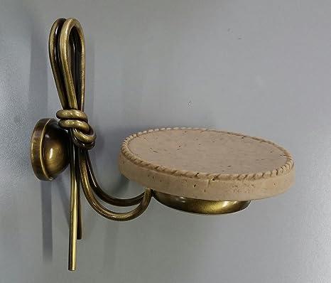 Accessori Bagno Serie Etrusca.Porta Sapone Sospeso Bronzo Travertino Etrusca Serie Nodo Amazon It