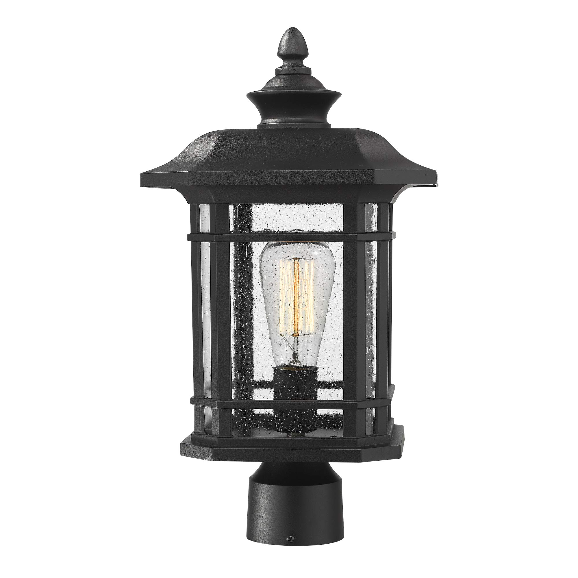 Emliviar Outdoor Post Lighting Fixture 17 inch, 1-Light Exterior Post Light in Black Finish with Seeded Glass, A2202110P1 by EMLIVIAR