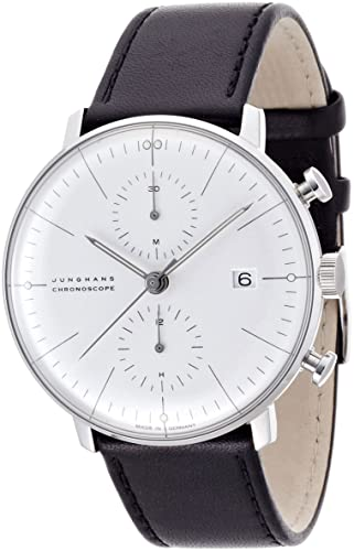 Reloj Junghans MAX Bill Chronoscope 0274600.00 automático Acero quandrante Blanco Correa Piel: Amazon.es: Relojes