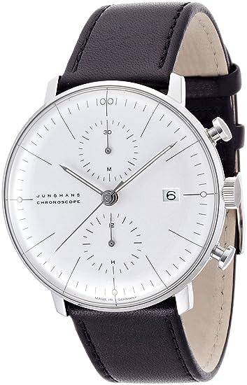 Reloj Junghans MAX Bill Chronoscope 0274600.00 automático Acero quandrante Blanco Correa Piel