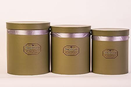 Juego de 3 cajas redondas (Just For You) sombrero caja, caja de almacenaje, caja de regalo, caja de flores – verde oscuro: Amazon.es: Hogar