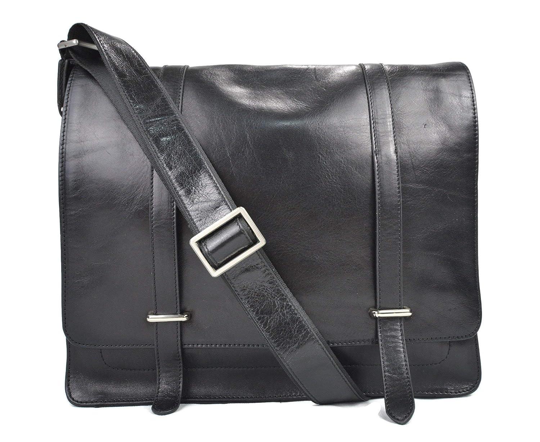 18cefa11c6d5 Amazon.com  Mens leather messenger bag black shoulderbag genuine leather  briefcase satchel messenger business document bag ladies executive bag   Handmade