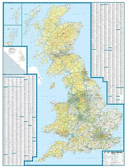 Great Britain A-Z Road Map (glänzende verkapselte Wandkarte): Amazon ...
