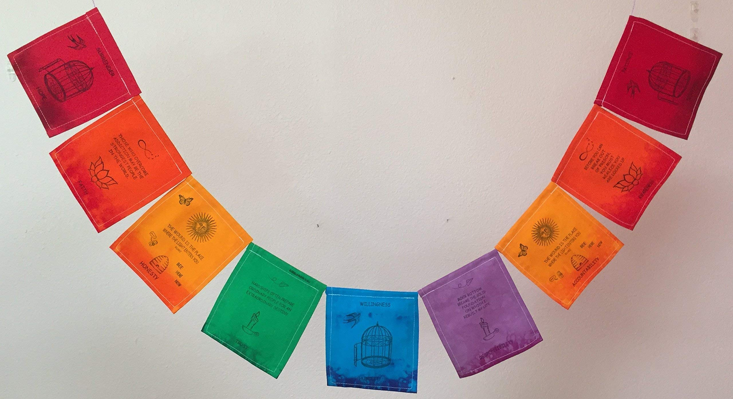 Overcoming Addictions Prayer Flag. All proceeds to families in Mexico.