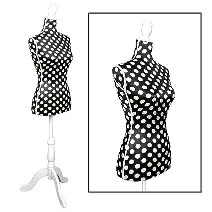 Maniquí de estilo clásico para mujer de talla 36/38 negro con lunares blancos