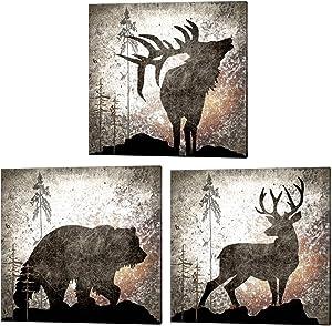 Calling Bear, Deer & Elk by LightBoxJournal, 3 Piece Canvas Art Set, 14 X 14 Inches Each, Hunting Lodge Art, Cabin Art, Animal Art