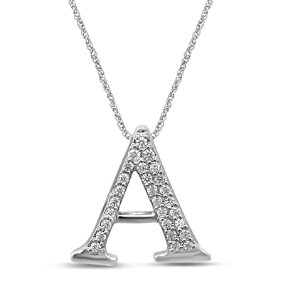 08d547876 Amazon.com: Diamond Jewel 10K White Gold 0.07 cttw Diamond Initial Letter  'A' Pendant Necklace: Jewelry