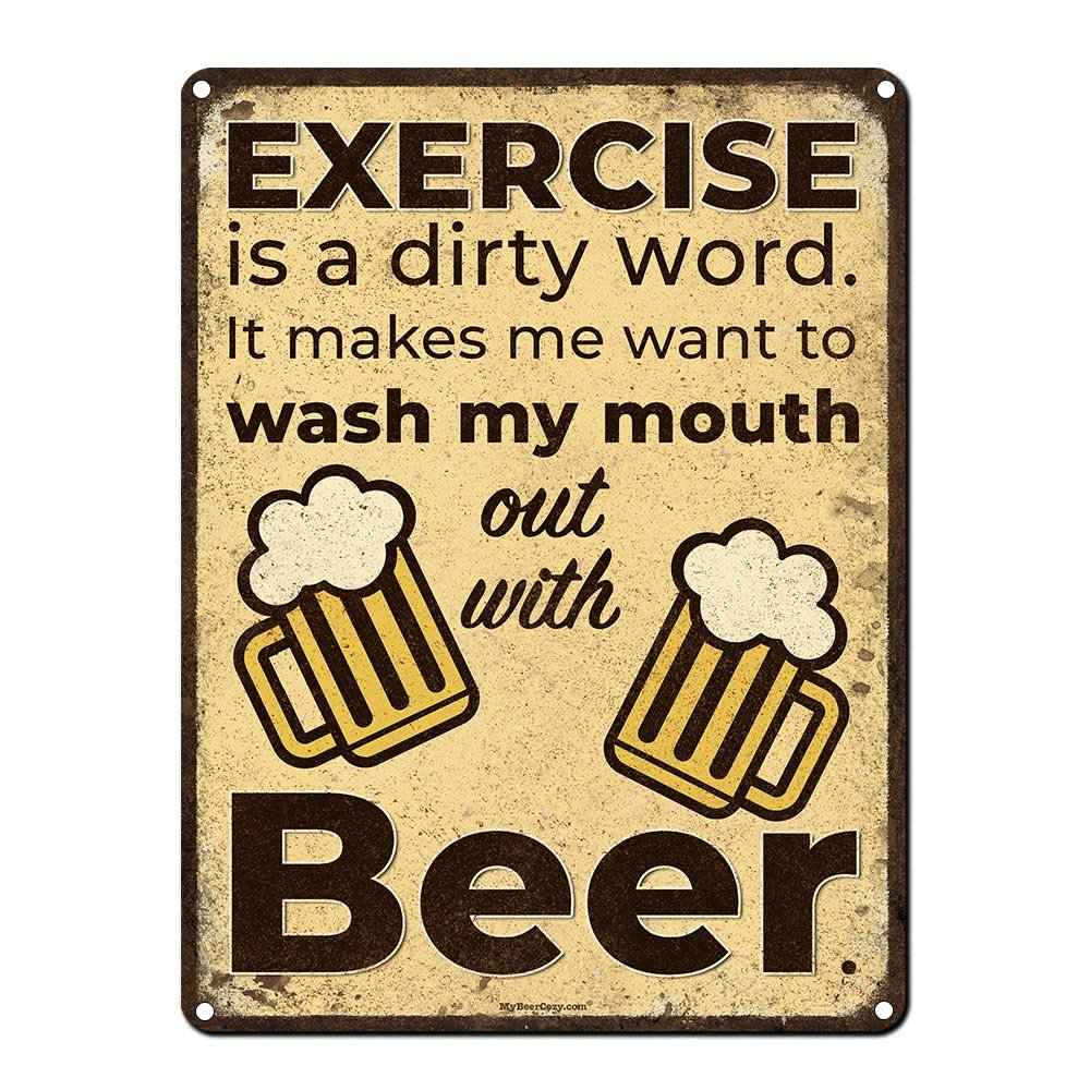 """Exercise is a Dirty Word~ Funny Beer Signs ~ 9"""" x 12"""" Metal Sign ~ Man Cave, Garage, Basement, Home Gym, Brewery, Bar Accessories & Wall Decor & Gifts ~ Vintage Distressed Look (RK1074RK_9x12)"""