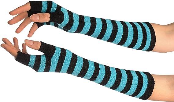 Blue /& White Striped Fingerless Ladies Gloves