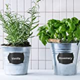 SATINIOR Chalkboard Labels Set, 120 Pieces Reusable Waterproof Pantry Stickers and 2 Pack Erasable White Chalkboard Liquid Pen, Label for Spice Jar, Glass Bottles