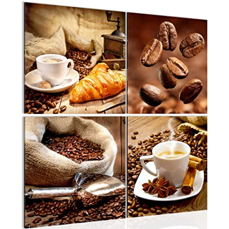 Runa Art Bilder Küche Kaffee Wandbild Vlies - Leinwand Bild XXL Format  Wandbilder Wohnzimmer Wohnung Deko Kunstdrucke 60 x 60 cm Braun 4 Teilig -  Made ...