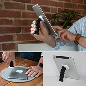 iPad Handle That is Soft and Adjustable Also Serves as an iPad Stand and Tablet Holder.