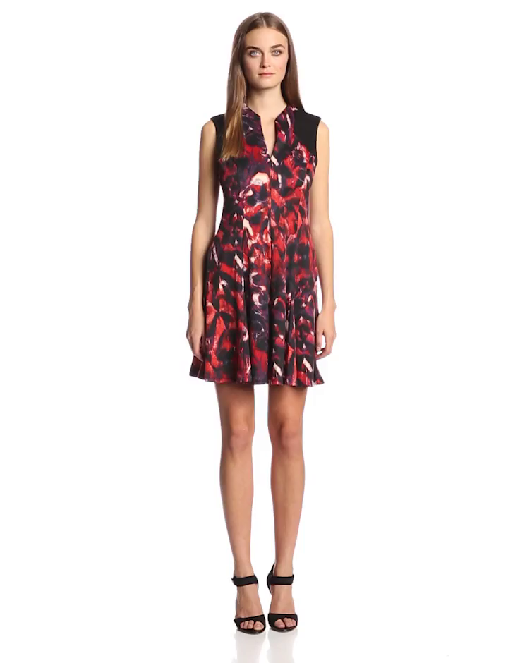 Jessica Simpson Women's Sleevless Printed V Neck Flare Dress, Agouti, 4