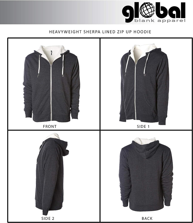 Global Blank Heavyweight Sherpa Lined Zip Up Fleece Hoodie Jacket Men and Women