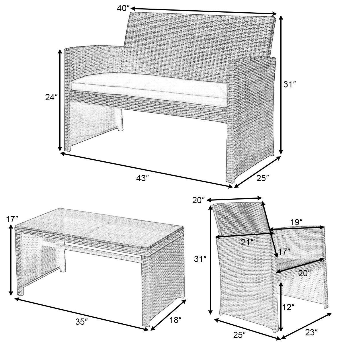 Goplus 4 PC Rattan Patio Furniture Set Garden Lawn Sofa Cushioned Seat Wicker Sofa (Mix Gray) by Goplus (Image #7)