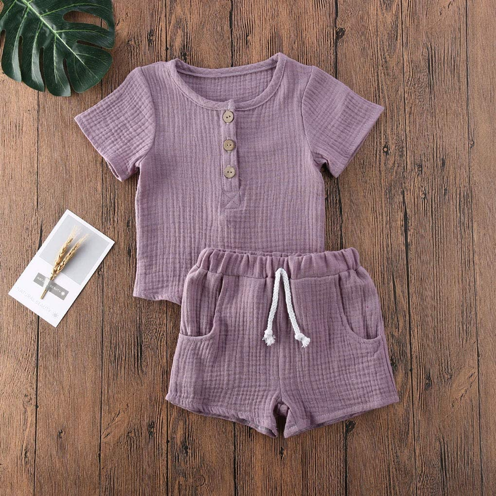 Canaseay Toddler Baby Boys Girls Cotton Linen Shorts Set T-Shirt Tank Tops+Print Hollow Out Letter Print Summer Outfit