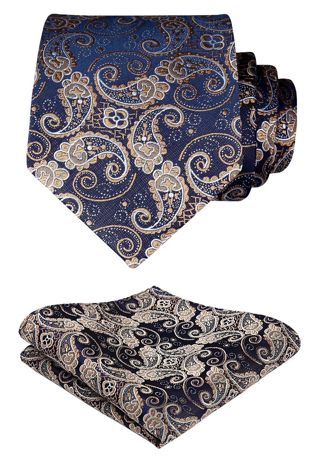 HISDERN Paisley Tie Handkerchief Woven Classic Men's Necktie & Pocket Square Set,Gold & Navy Blue,One Size